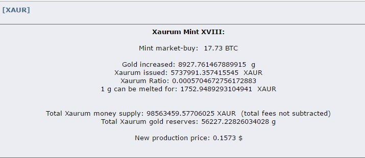 XAUR Xaurum coin