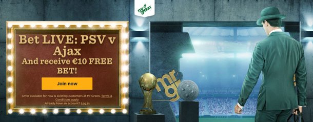 Mr Green: 10 Euro Freebet voor PSV - Ajax!