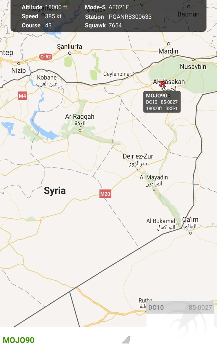 Tracking over northern Syria US Air Force KC10 -  aerial refueling tanker aircraft