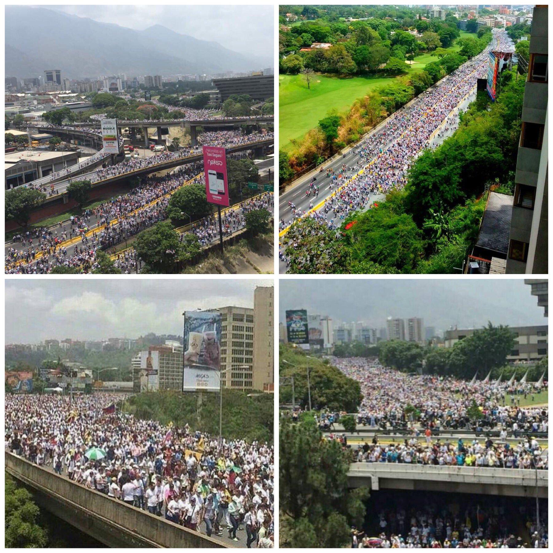Así lucen hoy las calles de #Venezuela  Un torrente incontenible de personas clamando democracia, paz https://t.co/Pijx4bzpaM