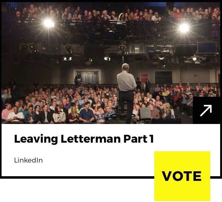 "Last chance to vote for ""Leaving Letterman"" for Best Reality Film & Video at the Webby Awards! Vote now:"