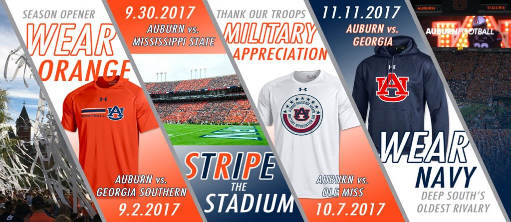 2017 All Auburn All Orange True Blue Stripe the Stadium Military Appreciation