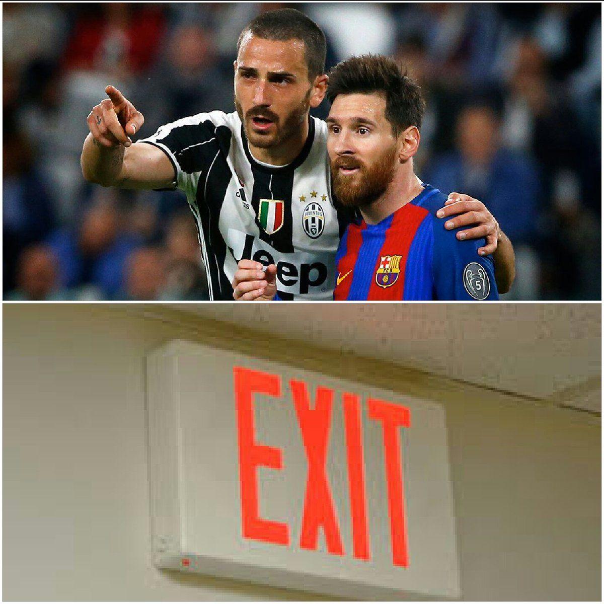 BARCA  OUT! #Messi : Bros Abeg wia d exit door dey? #Chiellini: U see dat door wea dey dia? Follow am go #Messi : tnks<br>http://pic.twitter.com/gIluMA90hr