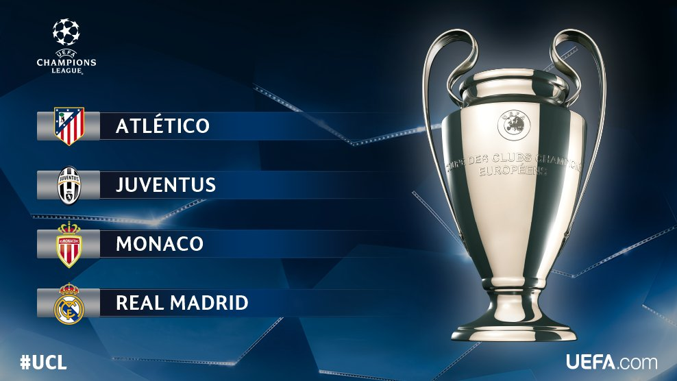 And then there were four...  #UCL semi-final draw details   http:// uefa.to/2pSP5cR  &nbsp;  <br>http://pic.twitter.com/8Biuv9iolr