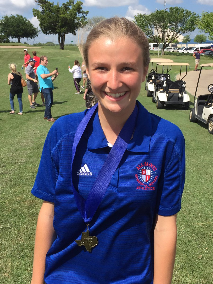 Congrats to All Saints HS Jr. Ally Muzyka for her third straight top 10 finish in the TAPPS 2A State Golf Tournament @AllSaintsPride