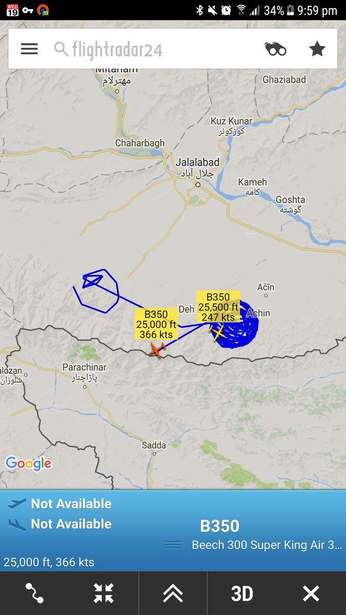 Orbiting around the MOAB strike areanNangarhar Province Afghanistan - 2 x King Air B350s
