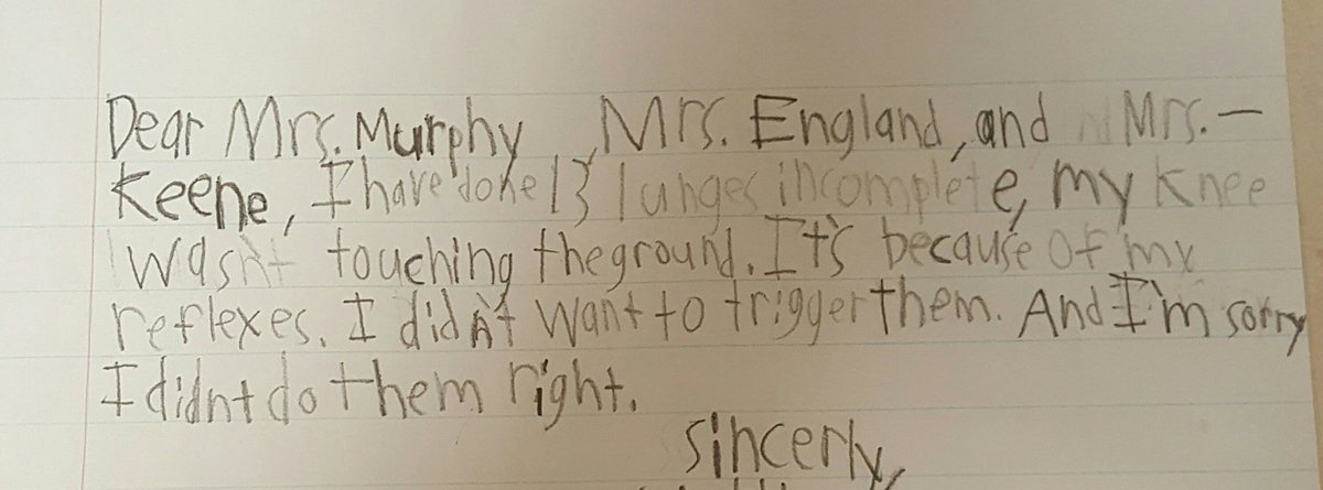 Suzy England CPES PE on Twitter Best apology letter EVER