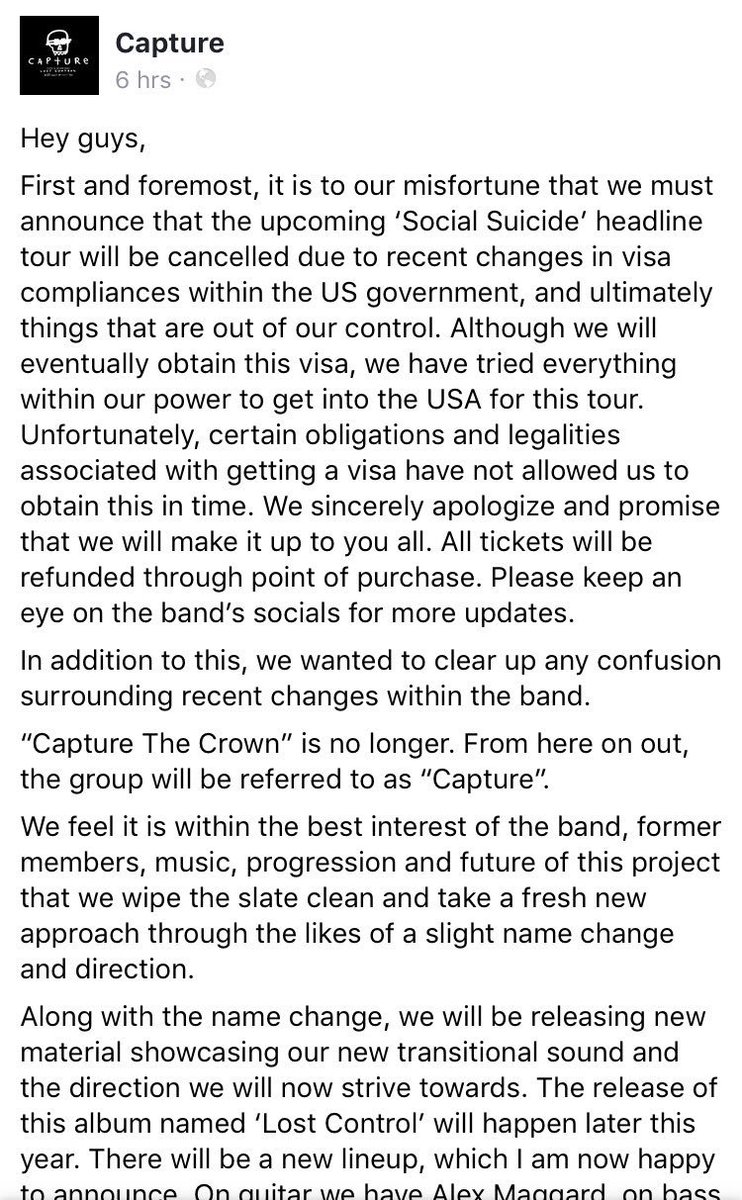 Please see our Facebook for full statement regarding tour/new release & more. facebook.com/capturethecrow…