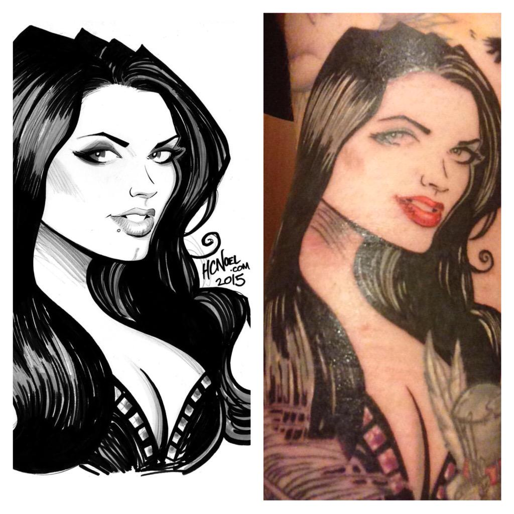 Wow! @SABguitar got my art of @RealPaigeWWE done as a tattoo! Love it. #Paige #WWE #WrestleMania http://t.co/zAqKFAoEwS