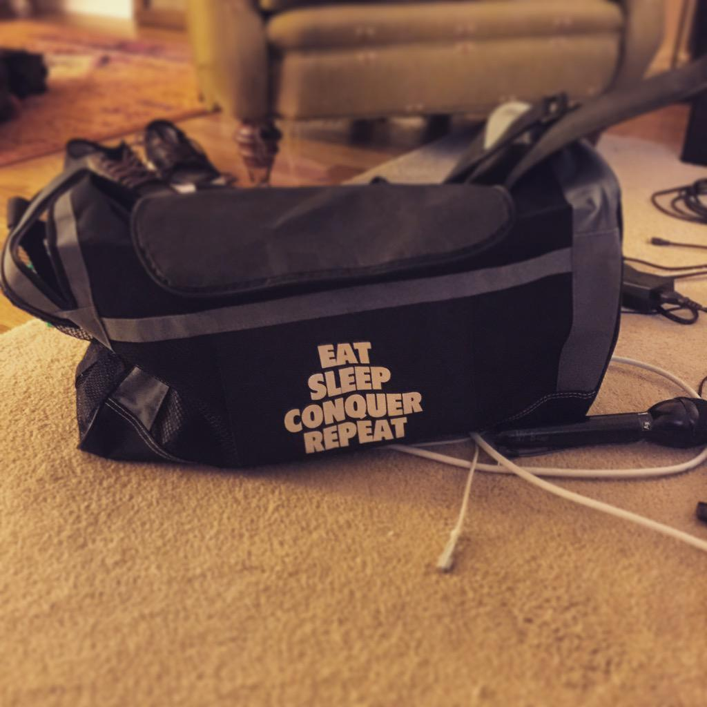 Packing the gear bag...San Jose in the AM...better not duck me @HeymanHustle #WrestleMania http://t.co/umn8mQfElK