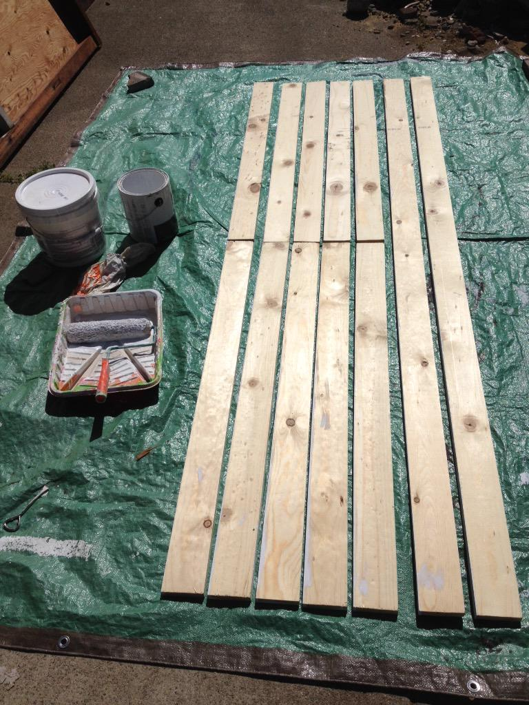 1x4s are dry, time to flip them over and apply primer to the other side. #KensGarageDoor http://t.co/SU5NkiZVB5