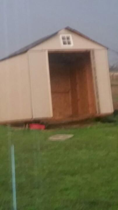The tornado felt my shed would be better sitting on top of my lawn mower. http://t.co/LNyzFJpQlk