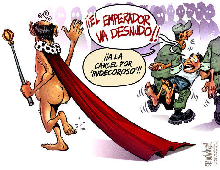 """Uživatel Confidencial Nicaragua na Twitteru: """"El emperador va DESNUDO... La caricatura de #PxMolinA http://t.co/x2I9Ndg1vM Dale #RT si te gustó http://t.co/2q11JUMoEA"""""""