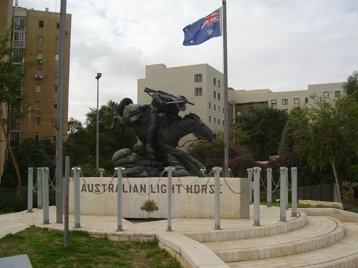 Image of monument to the cavalry charge at Beersheba