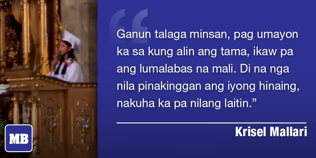 This was a part of Krisel Mallari's speech, which she never had the chance to say after being interrupted. http://t.co/1KwVqfU8Ij