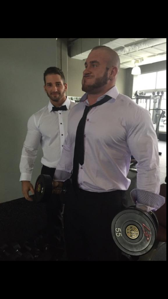 Pumped up hunk in working suit