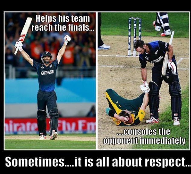 Grant Elliot, take a bow! #respect #sportsmanship #NZvSA #CWC15