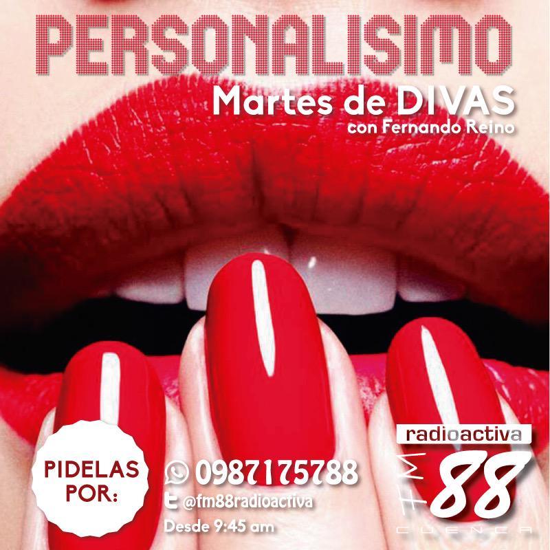 Hoy, en #Personalísimo @fm88radioactiva escucha a tus artistas favoritos en #Martesdedivas solicítalas al 0987175788 http://t.co/nDOPRBl7BA