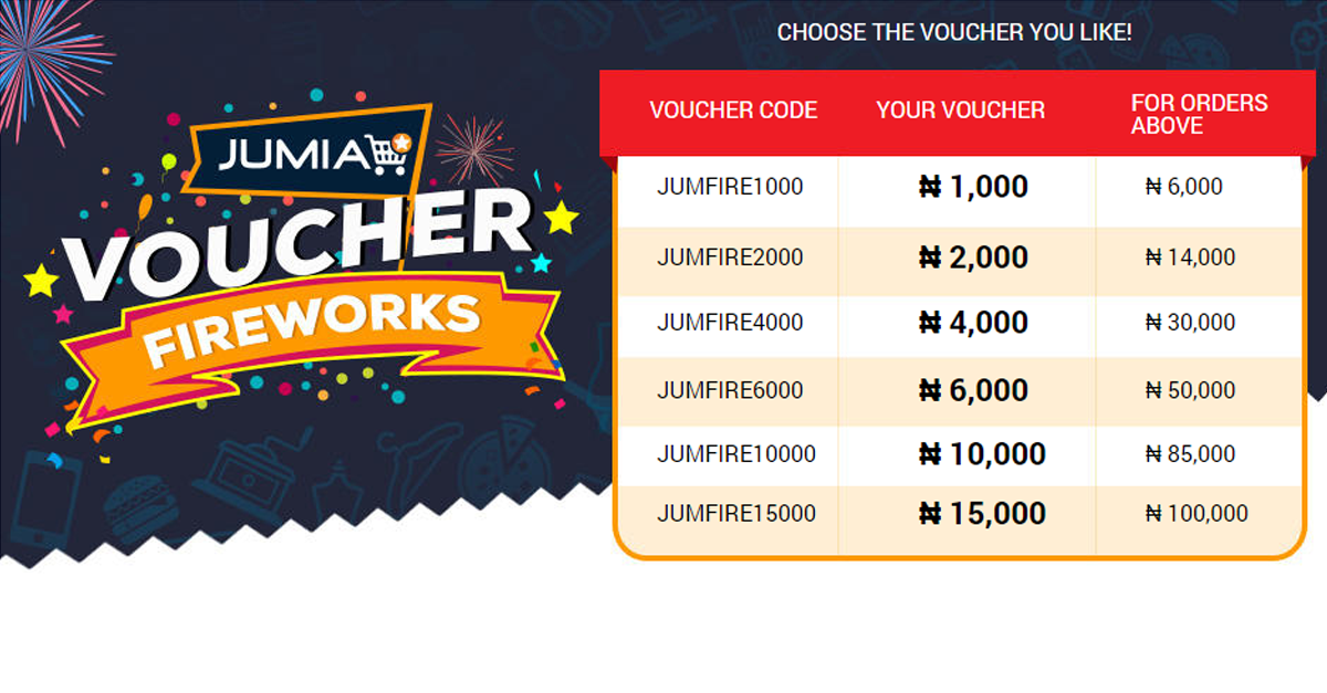 """Jumia Nigeria on Twitter: """"Get FREE vouchers from now till Wednesday with  the Jumia Voucher Fireworks. Click here- http://t.co/XRknaaRra3  http://t.co/xVvdYTiahA"""""""