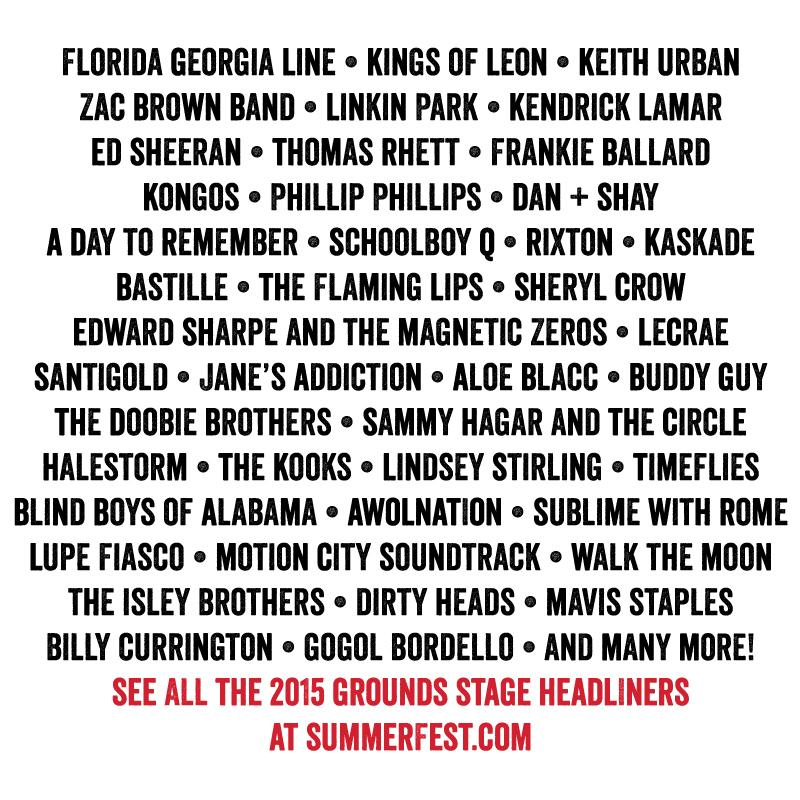 IT'S HERE!!! The Grounds Stage headliner acts have just been announced for Summerfest 2015! http://t.co/3OAazHYGOh http://t.co/rMfAZgN6tS