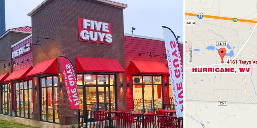Hurricane, WV is home to the newest #FiveGuys! We are NOW OPEN at 4161 Teays Valley Road, Hurricane, WV 25526 http://t.co/SsSpyNWzzo