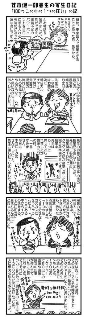 """茂木先生の『樹下の微睡み』での連載四コマ写生日記でも書いてました、「100っこの中の1つの圧力」  """"@kenichiromogi: 「教えようと思ったら、その内容の10倍は勉強をしないとダメだよ」 http://t.co/BzjVteNBHR"""