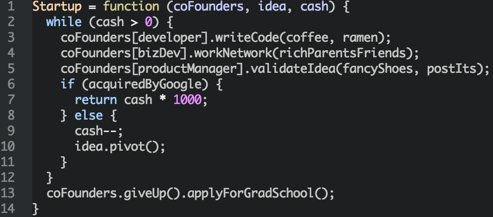 How startups work, explained in 14 lines of JavaScript http://t.co/HYd2l20Ish