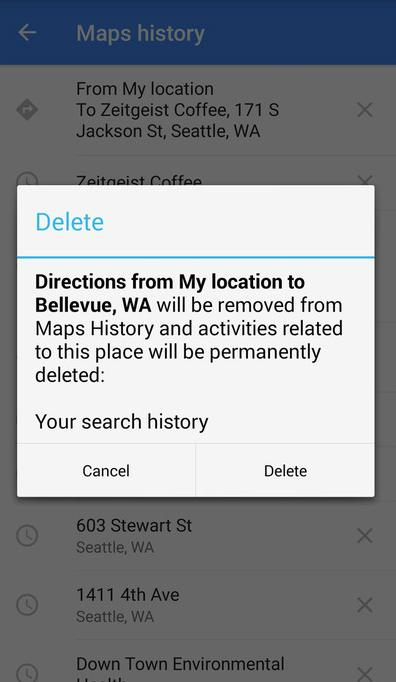 Delete Google Maps Search History on