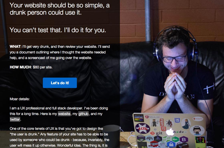 Le mec propose de noter l'ergonomie de ton site en le testant bourré. Le génie.  http://t.co/4MoB6wxZC5 http://t.co/Mj54ntW5IF