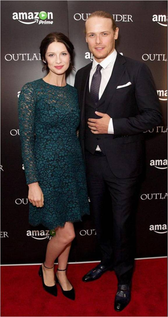 Sam Heughan in Ermenegildo Zegna (here with Caitriona Balfe) at the London premiere of #Outlander http://t.co/6tzAnG0exd