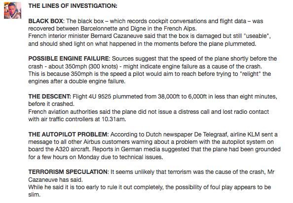 These are the lines of investigation as the #Germanwings #A320 rescue effort continues today: http://t.co/4rZpvrKlT2 http://t.co/gEvjbo7bHU