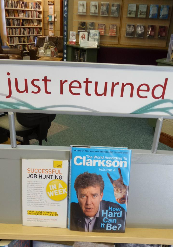 Really quite wonderful juxtaposition on the returns trolley today #Clarkson #P45 http://t.co/f7ogMltwJb