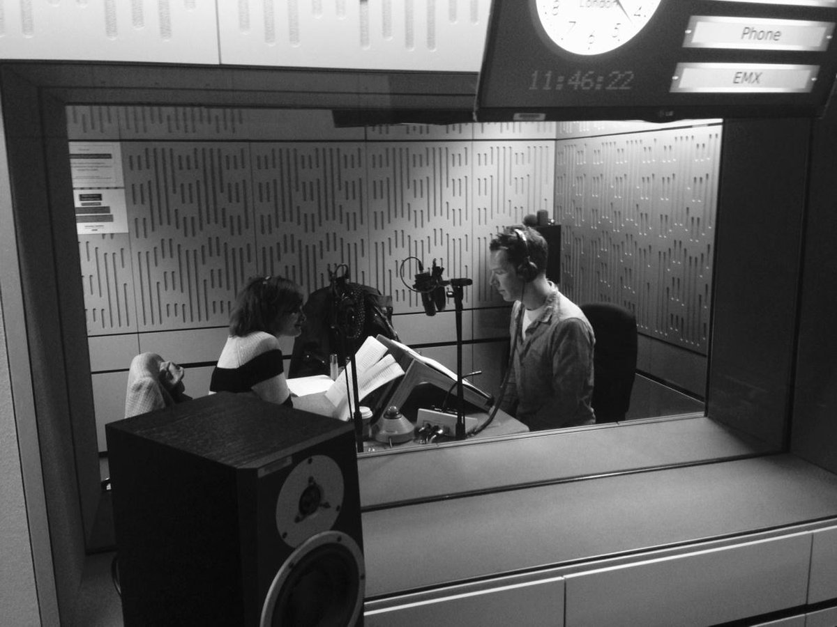 Here are the brilliant Benedict C and Loo Brealey recording My Dear Bessie for Radio 4. He's just proposed to her!! http://t.co/oc1gTy19su