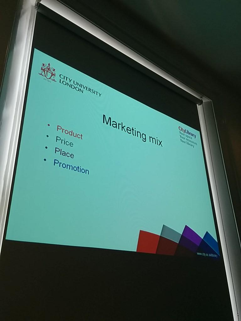 Marketing mix - product, price, place and promotion. #CPD25PQW5 What does price mean in a library context? http://t.co/9q7JEhM0ir