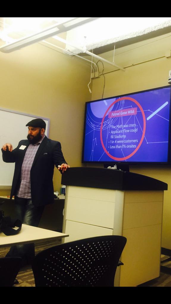 #HireVue client #Rackspace , Larry Hernandez  showing creative ways to develop a talent community #TalentNet http://t.co/kbFKJ7Jaub