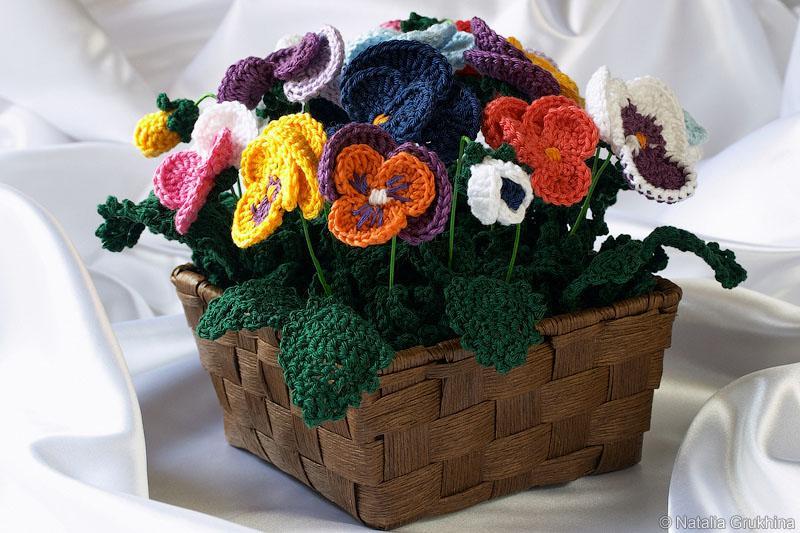 вязание горшечных цветов крючком фото цене
