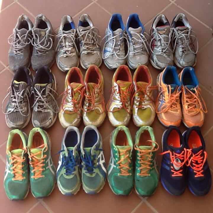 Turns out I've kept all but three pairs of running shoes since I started running @ComradesRace: ~22800km, 8 Comrades. http://t.co/xE6TbXPJjN