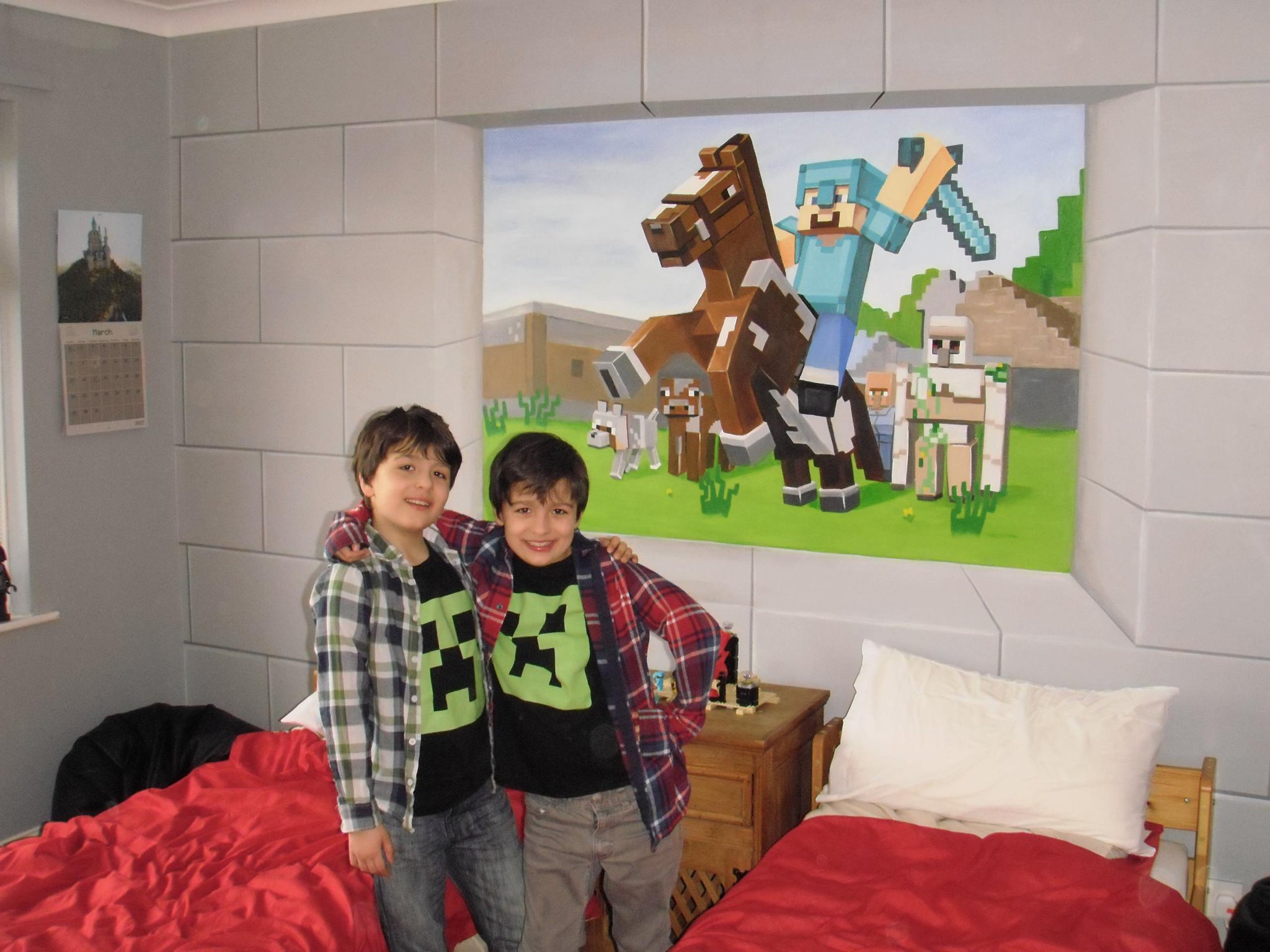 The Boys Enjoying Their New Custom Murals Minecraft Bedroom