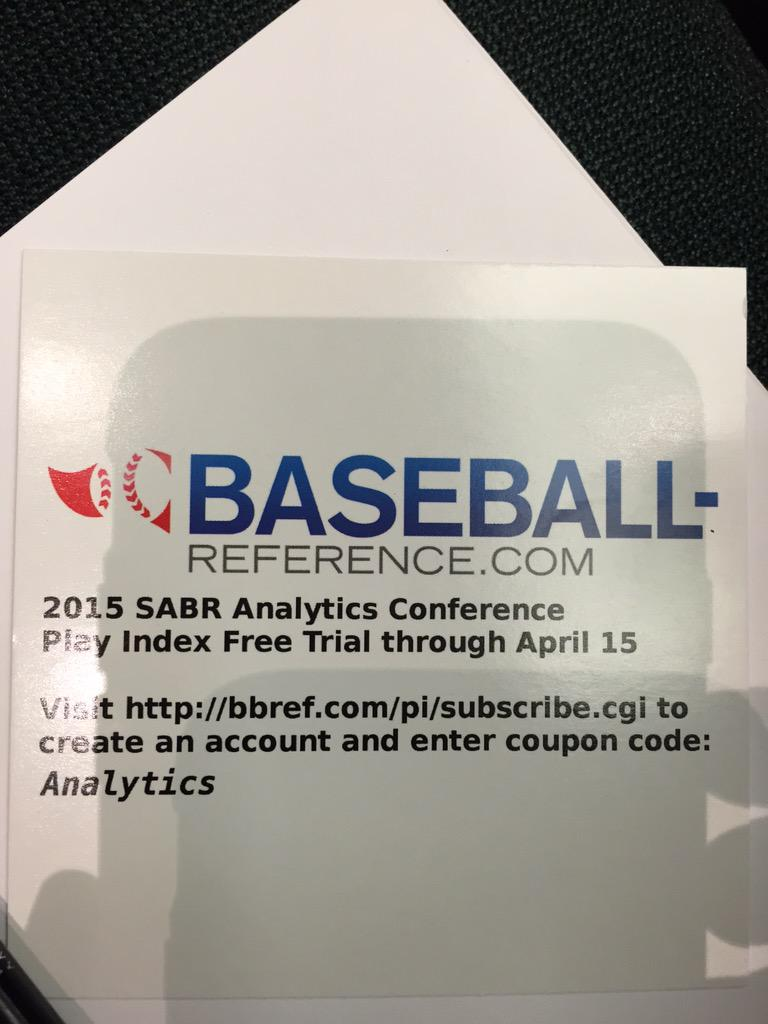 Baseball-reference is graciously offering a free trial through April 15 #SABRanalytics http://t.co/jkeMPfCX6V