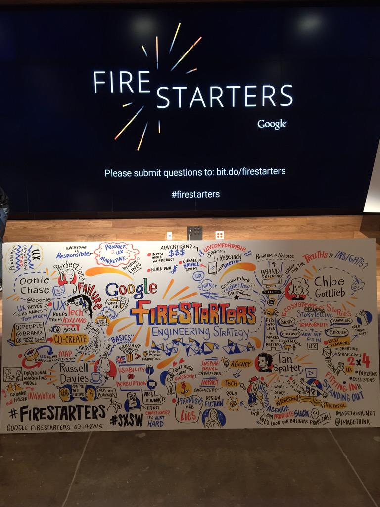 Thanks @oonie @undermanager @ianspalter @choalo for ace talks and @Malbonnington for hosting #firestarters #SXSW http://t.co/0OdMgZLz61