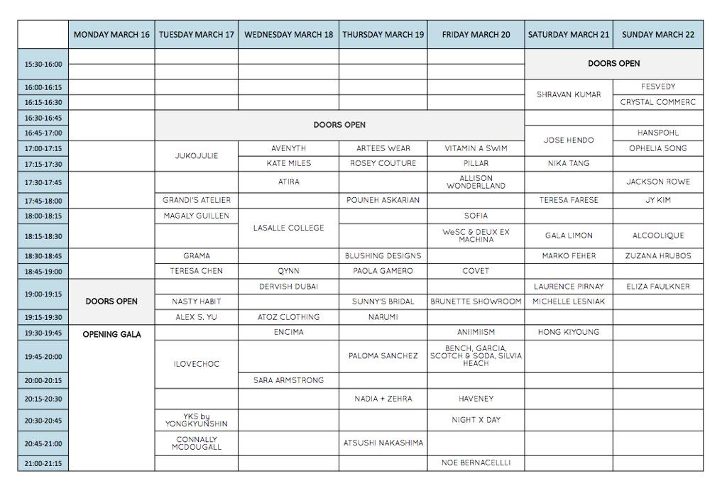 Here is the final schedule for Vancouver Fashion Week! Only one day to go! #Vanfashionweek http://t.co/KNhkCX2uc7