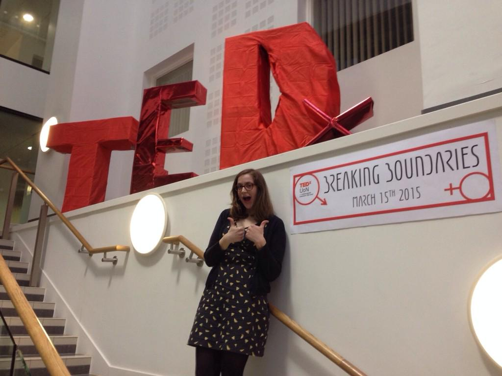 Boundaries broken: 1. Had a lovely time speaking at @TEDxUoN's #BreakingBoundaries http://t.co/dp9YDDryT4