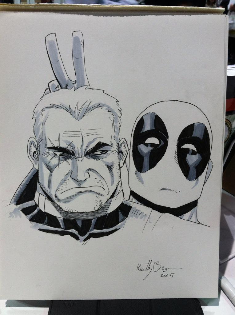 Cable and Deadpool drawing from @PlanetComicon .  Had an awesome time!  Thanks for having me out! http://t.co/s759lZeBAV