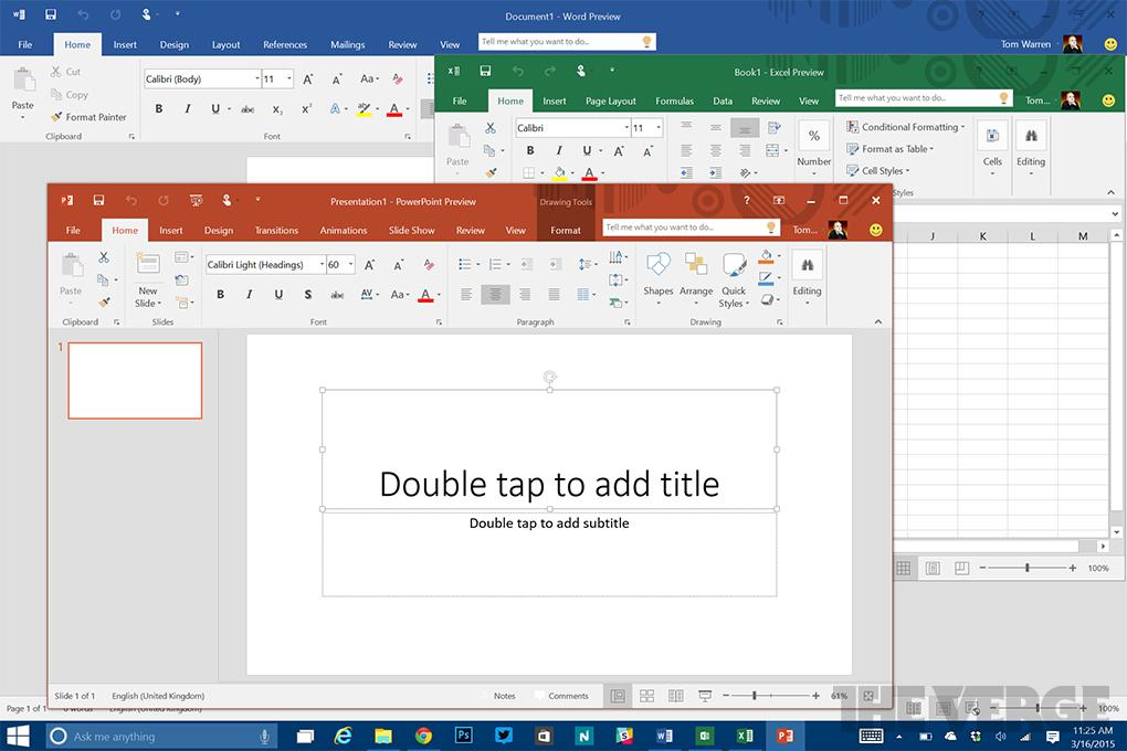 Microsoft Office 2016 includes a colorful new theme
