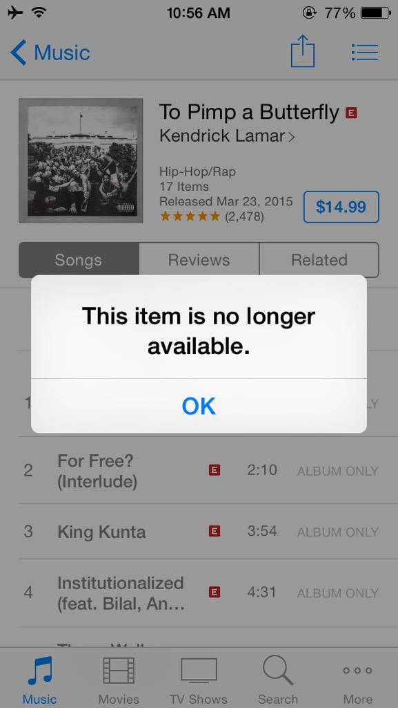 You know your album is hot when you sell out on iTunes! LMAO http://t.co/3giQIDVZR7