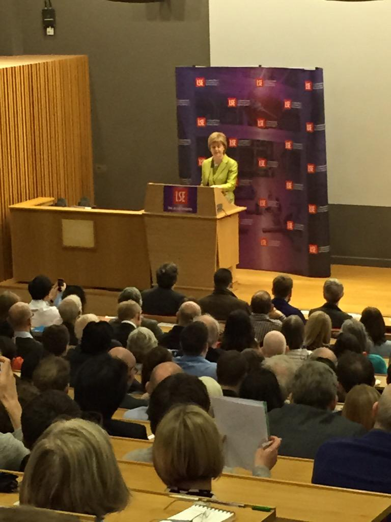 Obligatory photo #lsescotland. Sturgeon says there are some advantages to minority government - even a better budget http://t.co/cKoF7ZFf4T