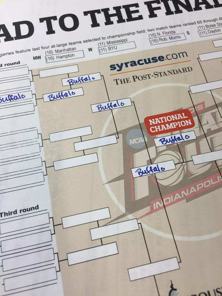 I filled out the important parts first. #ncaabrackets #UBBulls @UBmenshoops @UBAthletics http://t.co/gMDPotHd6N
