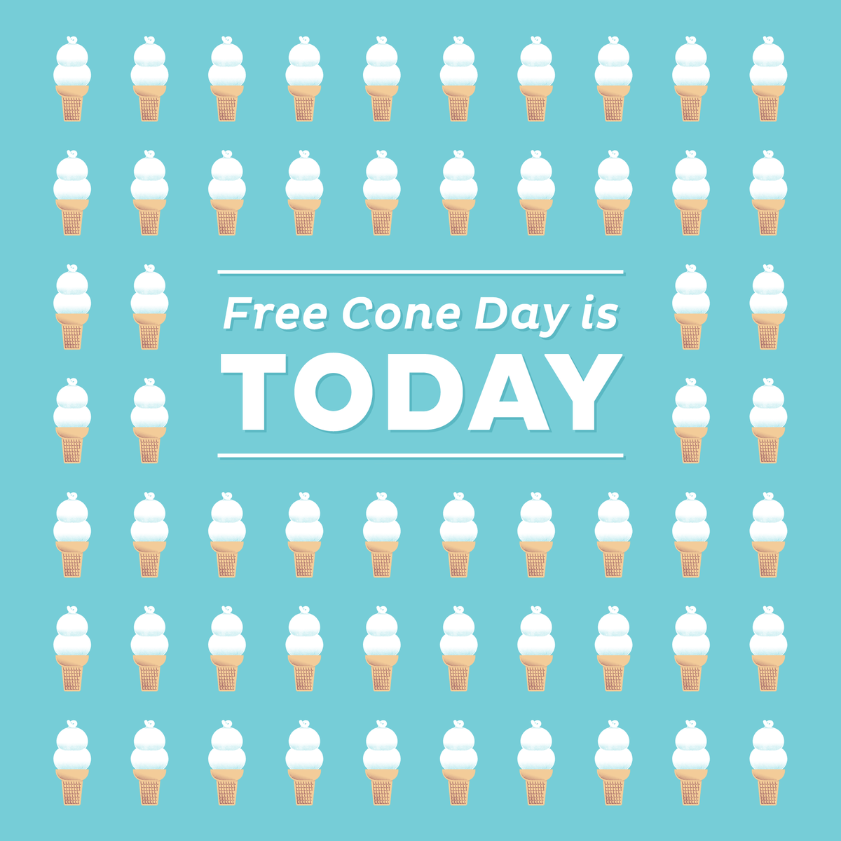 Today is FREE CONE DAY! Join us in DQ stores across America for a FREE soft serve cone. http://t.co/XqEzJ7F8A6