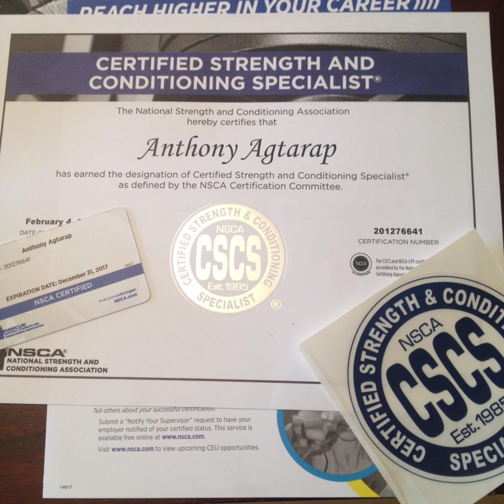 Anthony Agtarap On Twitter Renewed My Nsca Cscs Certification