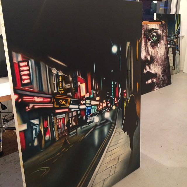 A view of Brick Lane at night, painted by the supremely talented @AndreaTyrimos on canvas soon to be exhibited. http://t.co/FbuZq0JRxd